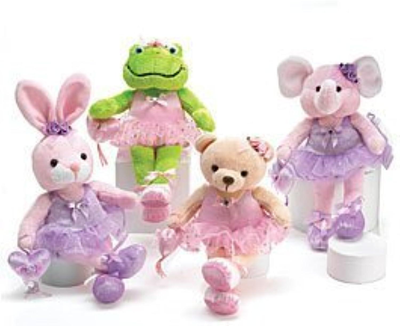 Set Of 4 Adorable Ballerina Plush Animals Including Rabbit, Frog, Elephant And Bear by Burton & Burton