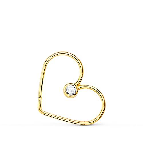 Piercing Aro Corazón Oro Amarillo 18K Pendiente de oreja suelto 15 mm
