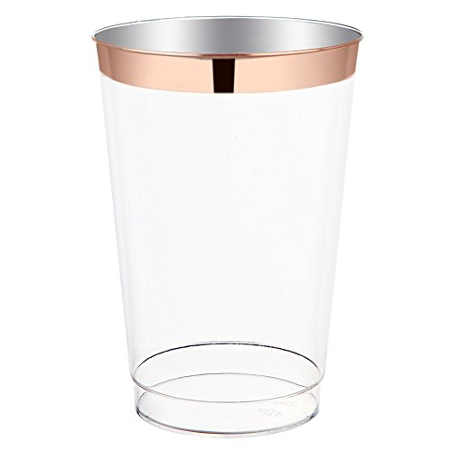 12oz Rose Gold Plastic Cups-100pack Clear Plastic Cups with Rose Gold Rim-Wedding/Party Disposable Cups-Heavyweight Plastic Tumblers-WDF (Rose Gold Trim)