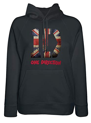 LaMAGLIERIA Damen-Hoodie One Direction Uk Flag Texture - Kapuzenpullover pop Boy Band, Medium, Schwarz