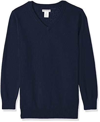 Amazon Essentials Kids Boys Uniform Cotton V-Neck Sweaters, Navy,...