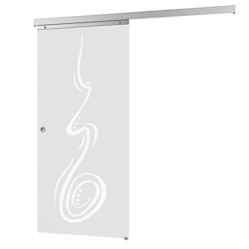 inova Glas-Schiebetür 755x2035mm Curved Zimmertür Innentür Komplettset mit Laufschiene & Glastür, Griffmuschel + beidseitiger Softclose