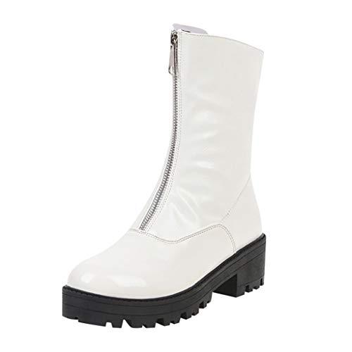 Frauen Stiefel Winter Martin Stiefel Mode Reine Farbe Runde Kappe Reißverschluss Stiefel Square Heels Vintage Booties(40 EU,Weiß)