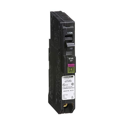 Square D by Schneider Electric QO QO115PDF Plug-In Mount 15 Amp Single-Pole Dual Function (CAFCI and GFCI) Circuit Breaker