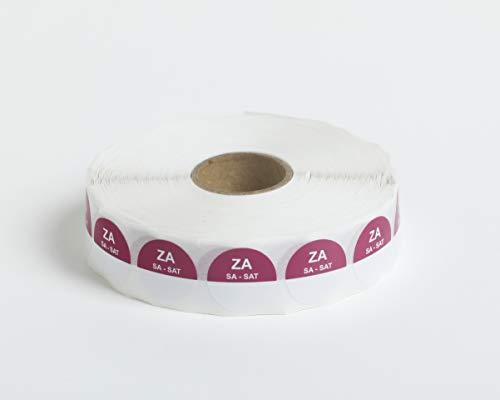 Set van 5 Rollen - 2000 HACCP Labels op 1 rol - 10.000 in totaal - zaterdag - paars - ronde dagstickers 19 mm, schrijfbaar. Plakt op elke ondergrond, voor etenswaren koelkast en vriezer, houdbaarheidsdatum,THT