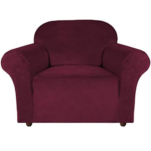 E EBETA Samt-Optisch 1 Sitzer Sofabezug Spandex Couchbezug Sesselbezug, Elastischer Antirutsch Sofahusse für Wohnzimmer Hund Haustier Möbelschutz (Weinrot)