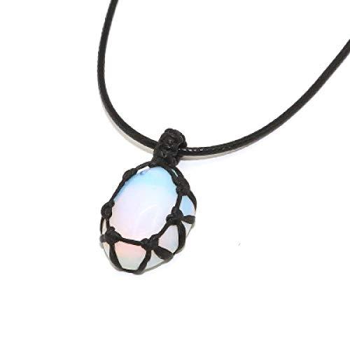 N/V Collar con Personalidad, Colgante de Cristal de Piedra Natural, Collar Trenzado, Collar de macramé de Yoga para Hombres y mujeres-BZN05
