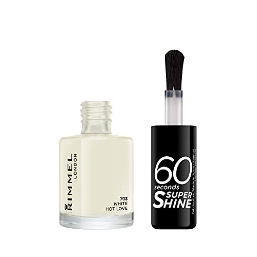 Rimmel London 60 Seconds Super Shine Nail Polish, 703 White Hot Love, 8 ml