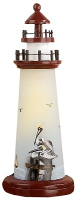 "15"" Lighted Lighthouse w/Pelican Accent"