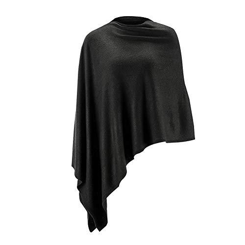 Women Ponchos Sweater Versatile Lightweight Solid Knitted...