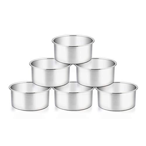 TeamFar 4 Inch Cake Pan, 6 Pcs Layer Baking Round Cake Pans Set Stainless Steel, For Baking Steaming Serving, Healthy & Sturdy, Mirror Finish & Dishwasher Safe