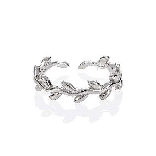 namana Verstellbarer 925 Sterling Silber Zehenring für Frauen, Silber Zehenringe mit Blattmuster und Ranken, Knöchelringe, Midi & Pinky-Ringe für...