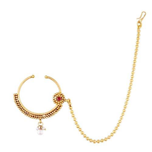 Aheli Ethnische Saree Hochzeitskleidung Nasenring Nath mit Perlenkette Indischer Traditioneller Schmuck für Frauen