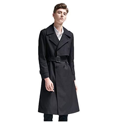 ABMOS Herren Mantel zweireihiger Trenchcoat Klassische Overcoat Warm Cabanjacke intelligente Lang Zweireihig PEA Coat Slim Fit Jacke,Schwarz,XXXL