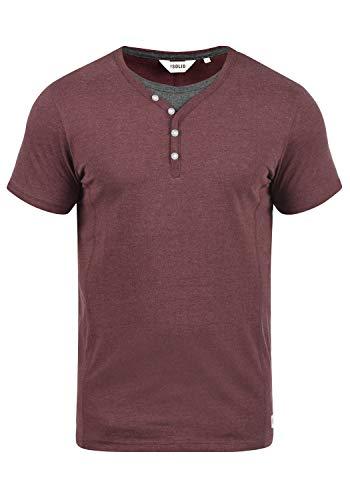 !Solid Dorian Herren T-Shirt Kurzarm Shirt Mit Grandad-Kragen, Größe:L, Farbe:Wine Red Melange (8985)