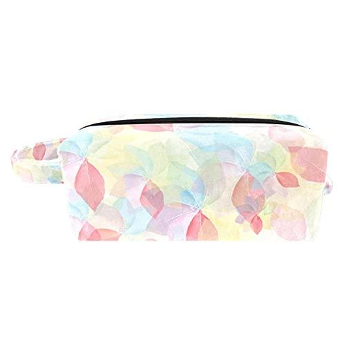 Bolsa de maquillaje portátil de viaje para cosméticos, organizador multifunción con cremallera, bolsa de aseo para mujer, flores abstractas