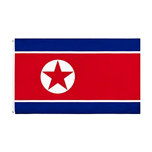 SSJIA Bandera de Corea del Norte Bandera del Orgullo Decoraciones del Orgullo empavesado del Orgullo 90x150cm PRK KP NK, 90 x 150cm