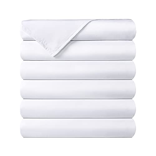 King Flat Sheets - Pack of 6 - 1800 Thread Count - Ultra Soft Brushed Microfiber Fabric - Shrinkage & Fade Resistance Top Sheets for Hotel, Hospital, Massage use - Bulk Flat Sheet Set of 6, White