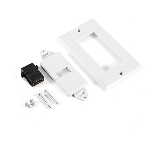 PUSOKEI para Placa de Pared HDMI, 1 Puerto Chapado en Oro para HDMI con Cubierta Frontal de Placa de Pared Ethernet para hogar/Cine/DVD, Blanco