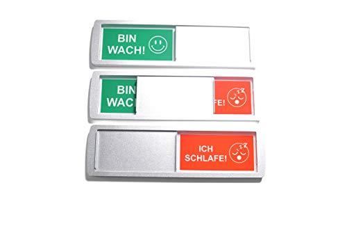 1 letrero deslizante grande vacante/ocupado BIN WACH/ICH SCHLAFE - 17,5 x 5 cm - Letrero con función deslizante para indicar el estado de una habitación - Adhesivo trasero d de la reconocida marca 3M