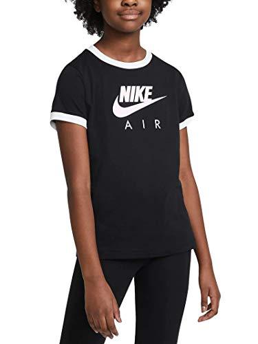 NIKE Ringer Air, Camiseta Niños Unisex, Black/White, XL