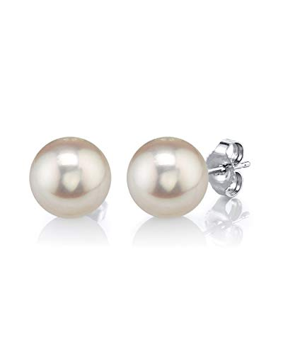 THE PEARL SOURCE 14K Gold 8-9mm Round White Freshwater Cultured Pearl Stud Earrings for Women