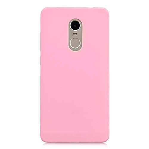 cuzz Funda para Xiaomi Redmi Note 4+{Protector de Pantalla de Vidrio Templado} Carcasa Silicona Suave Gel Rasguño y Resistente Teléfono Móvil Cover-Rosa Oscuro
