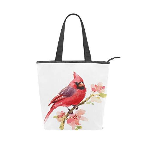 Vdsrup Watercolor Cardinal Fashion Shoulder Bags Red Bird Flowers Large Lightweight Daily Shopping Grocery Canvas Bag Reusable Casual Handbag Tote Purse Bag for Women Girls Travel School