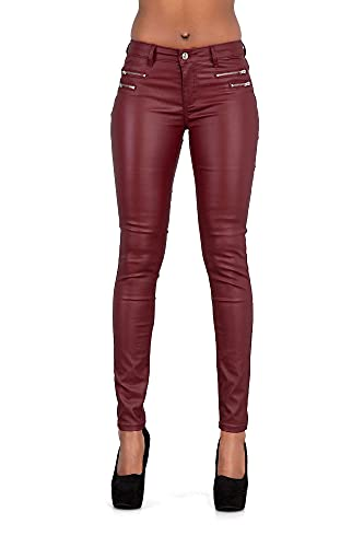 Crazy Lover Mujeres Leggins Cuero Brillante Pantalón Elásticos Skinny Pantalones Para Mujer (34, Borgoña)