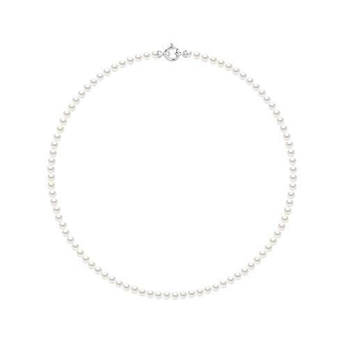 Pearls & Colors - Collier - Véritables Perles de Culture d'eau Douce Rondes - Blanc Naturel - Qualité AAA+ - Disponible en Plusieurs Tailles - Or Blanc - Bijou Femme