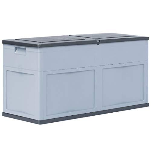 yorten wasserdichte Garten Aufbewahrungsbox 320 L Gartenbox Auflagenbox für Garten Terrasse aus Kunststoff 119 x 46 x 60 cm (L x B x H) Grau und Schwarz
