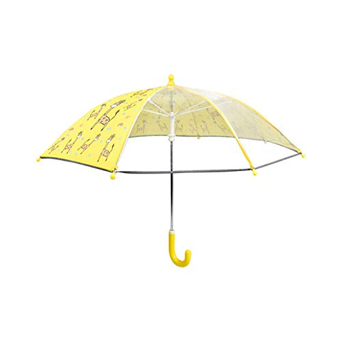 Children's Umbrellas Anti-pinching Long Handle Transparent Arched Rounded Cartoon Umbrella For Women And Kids (Color : Yellow, Size : 16 inch)