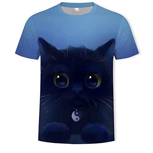 XJWDTX T-Shirt D'Été À Manches Courtes Teen Cat Print Chemise À Manches Courtes À Col Rond pour Hommes 3Dt