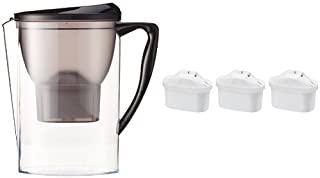 Amazon Basics Carafe filtrante 2,3 litres avec lot de 4 cartouches filtrantes (3+1 offerte), compatible carafes Brita Ma...