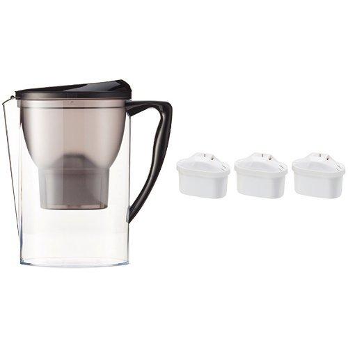 Amazon Basics Carafe filtrante 2,3 litres avec lot de 4 cartouches filtrantes (3+1 offerte), compatible carafes Brita Maxtra® (non compatible avec Maxtra+®)
