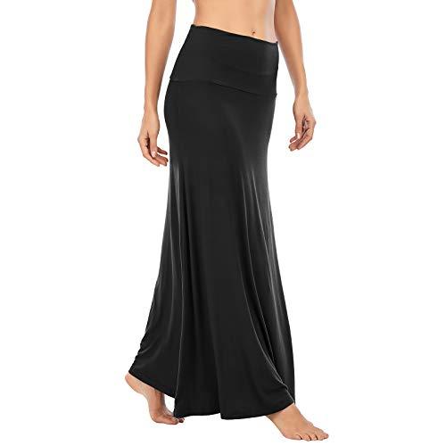 American Trends Womens Maxi Skirts Long Skirt for Women High Waist Maxi Dresses Black Small
