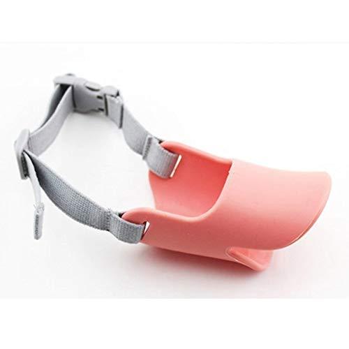 Vektenxi Einstellbare Silikon kleine süße Hund Entenschnabel Schnauze Anti-Rinde Mundschutz Schutz-Pink M Kreativ und nützlich