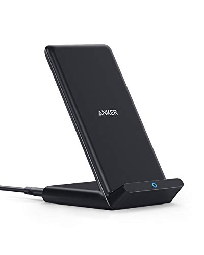 Anker Wireless Charger, PowerWave Stand, Qi-Certified for iPhone 11, 11 Pro, 11 Pro Max, XR, Xs Max, XS, X, 8, 8 Plus, 10W Fast-Charging Galaxy S10 S9 S8, Note 10 Note 9 and More (No AC Adapter)