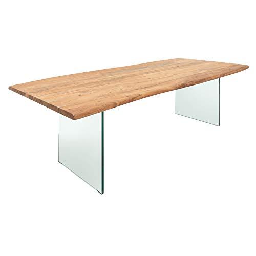 Invicta Interior Massiver Esstisch Mammut 200cm Akazienholz mit transparentem Glasgestell Tisch Konferenztisch