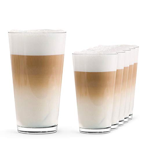 SAHM Latte Macchiato Gläser Set (6 STK)   0,30 l Trinkgläser Set   Ideal auch als Wassergläser Set   Klassische Kaffee Latte Gläser