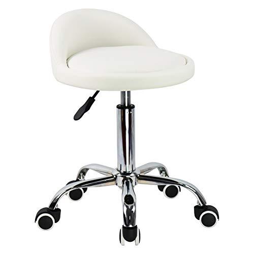 KKTONER Rollhocker mit Rückenlehne höhenverstellbar drehbar Arbeitshocker Drehhocker Rollhocker Praxishocker Bürohocker Weiß
