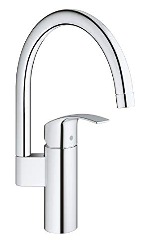 Grohe Eurosmart Cosmopolitan - Grifo de cocina, caño alto giratorio, Limitador ecológico de caudal (Ref. 32223002)