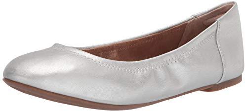 Amazon Essentials Belice Ballet Flat Zapatos Bailarinas, Plata, 38.5 EU