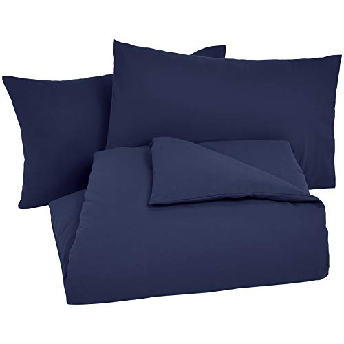Amazon Basics - Bettwäsche-Set, Fein-Biber, 200 x 200 cm, Marineblau