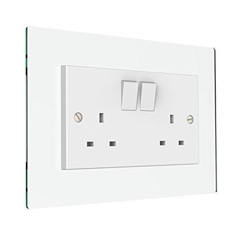 Displaypro Single, Double Light Switch Surround Acrylic Finger Plate Panel Plug Socket (Glass Effect - Double)