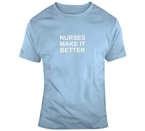"TIANWEI Krankenhaus-T-Shirt mit Aufschrift \""Nurses Make It Better Healthcare\"", Hellblau Gr. XXL, blau"