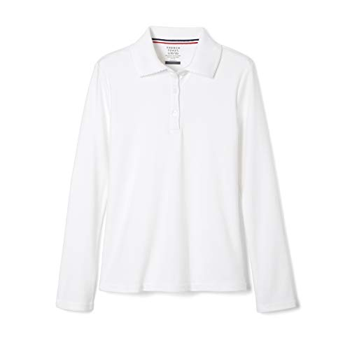 French Toast Girls' Big Uniform Long Sleeve Polo with Picot Collar (Standard & Plus), White, M (7/8)