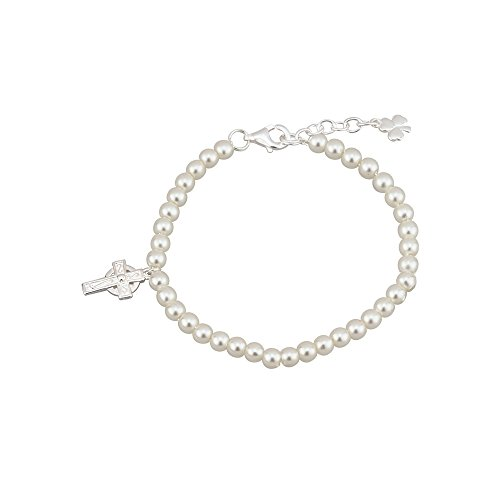 Solvar Communion Bracelet Celtic Cross with Pearls Silver Plated Irish Made in Gift Box