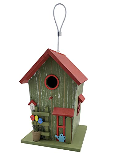 kamelshopping Farbenfohes Vogelhaus aus Echtholz gefertigt, Vogelvilla zum Hängen, Nistkasten für Garten und Balkon (grün-rot)