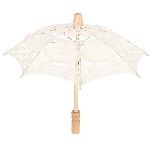 AUNMAS Paraguas de Encaje, sombrilla, Paraguas de Novia de Boda Vintage para Suministros de Fiesta de Disfraces fotográficos(Beige 1)